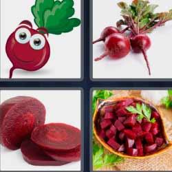 4 fotos 1 palabra fruta roja