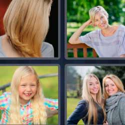 4 fotos 1 palabra mujer con pelo rubio