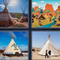 4 fotos 1 palabra tienda indios