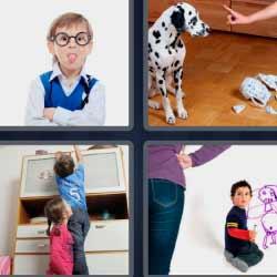 4 fotos 1 palabra niño sacando la lengua