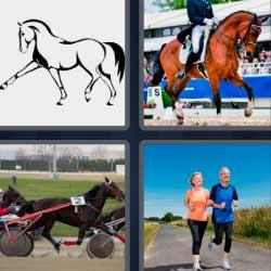 4 fotos 1 palabra caballo gente corriendo
