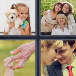 4 fotos 1 palabra niña con un perro