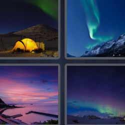 4 fotos 1 palabra tienda de campaña iluminada