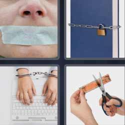 4 fotos 1 palabra candado cadena