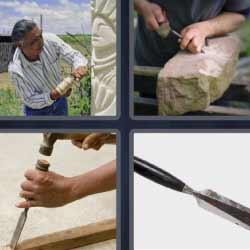4 fotos 1 palabra escultura de piedra