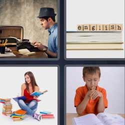4 fotos 1 palabra hombre escribiendo a máquina