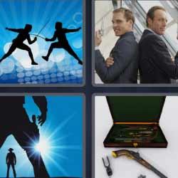 4 fotos 1 palabra lucha con espadas