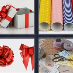 4 fotos 1 palabra cajas regalo