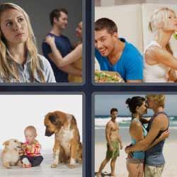 4 fotos 1 palabra bebé con dos perros