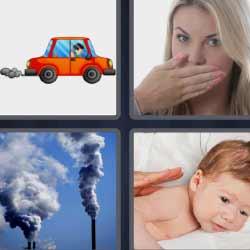 4 fotos 1 palabra coche humo