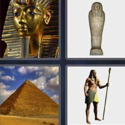 Cuatro fotos una palabra estatuas egipcios