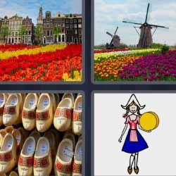 4 fotos 1 palabra molinos y flores