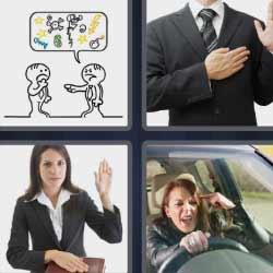 4 fotos 1 palabra hombre con mano en el pecho