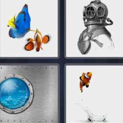 4 fotos 1 palabra peces
