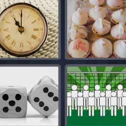 4 fotos 1 palabra reloj antiguo