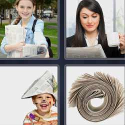 4 fotos 1 palabra niño con sombrero de papel
