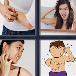 4 fotos 1 palabra rascándose el brazo